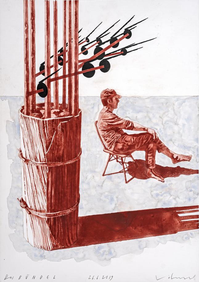 Steffen Volmer, Das Bündel, 2019, Zeichnung, 50 x 35 cm, im Besitz des Künstlers, Foto: Kunstsammlungen Chemnitz/Lászlo Tóth © VG Bild-Kunst, Bonn 2019