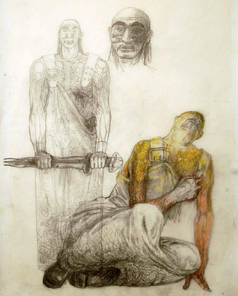 Ralf Winkler, Kostümentwurf für Fafner in  Richard Wagners Der Ring des Nibelungen, 1999, Foto: Kunstsammlungen Chemnitz/Schloßbergmuseum