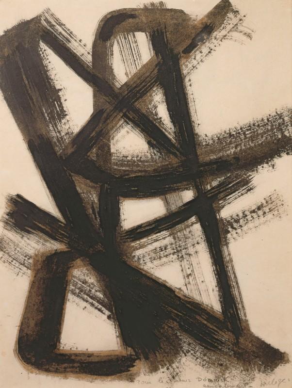 Pierre Soulages, Brou de noix sur papier 65 x 50 cm, 1947, 1947, Nußbeize auf Papier, Sammlung Domnick, Nürtingen © Sammlung Domnick, Nürtingen © VG Bild-Kunst, Bonn 2021