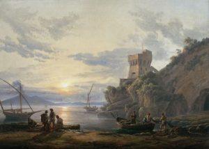 Johan Christian Clausen Dahl, Küste nahe Castellamare im Morgendunst, 1822