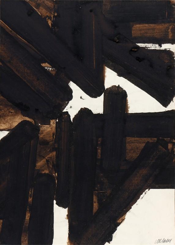 Pierre Soulages, Brou de noix sur papier 56,8 × 40,8 cm, 1953, 1953, Nußbeize auf Papier, 56,8 × 40,8 cm