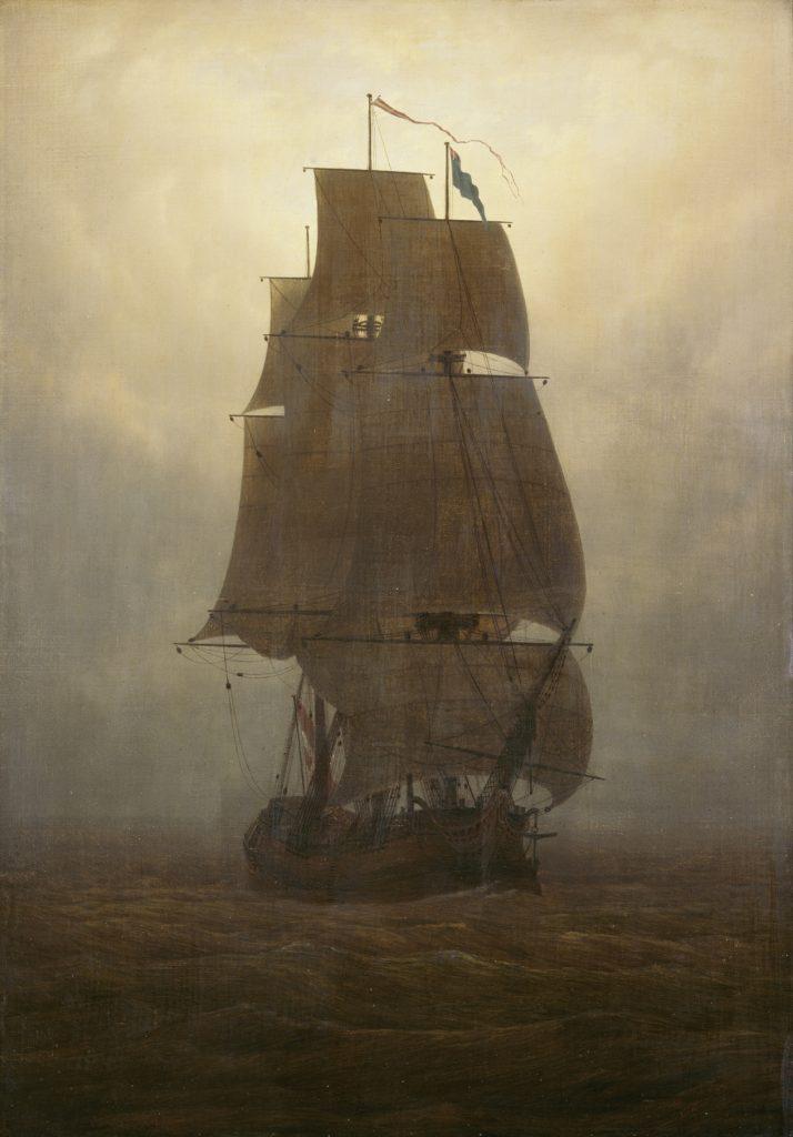 Casper David Friedrich , Segelschiff, um 1815, Öl auf Leinwand auf Sperrholz, Kunstsammlungen Chemnitz