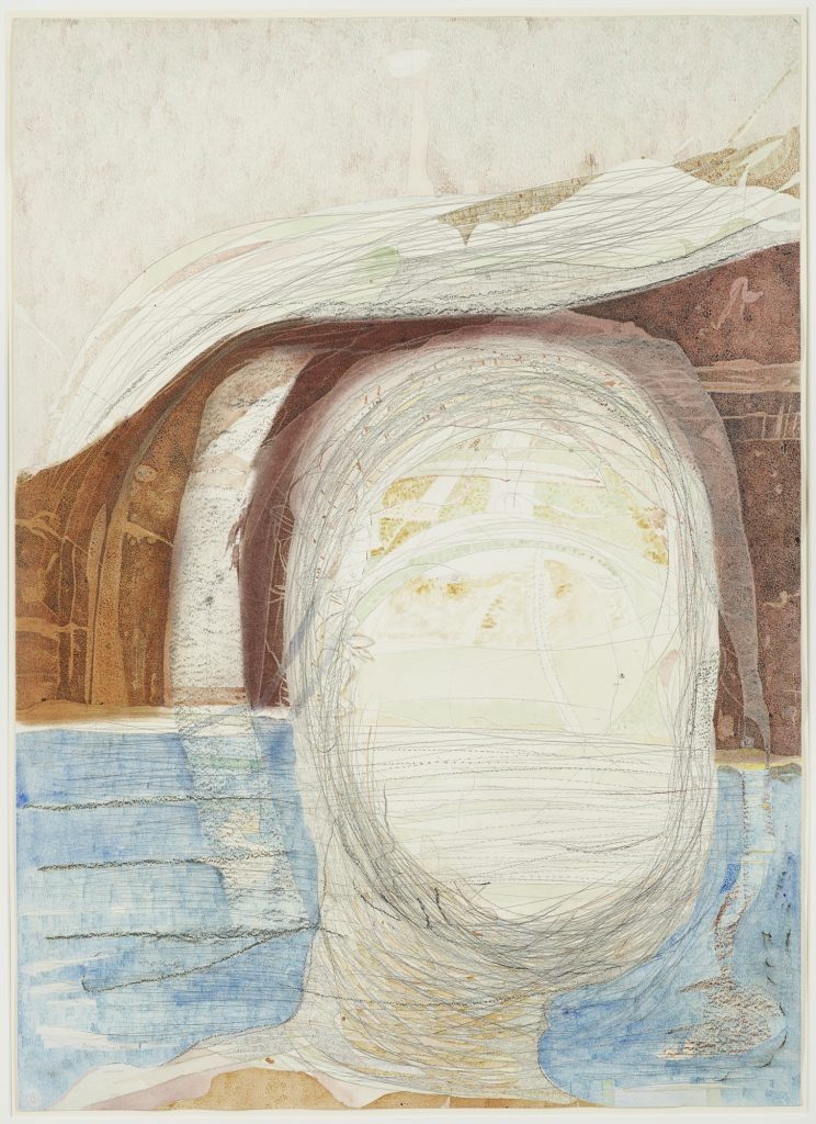 Gerhard Altenbourg, Silence: Silence, Silence, 1974, Aquarell, Tempera, Chinesische Tusche, Pastell, Kreide, Bleistift, Rötel auf Schoellershammer, 101,8 × 73 cm