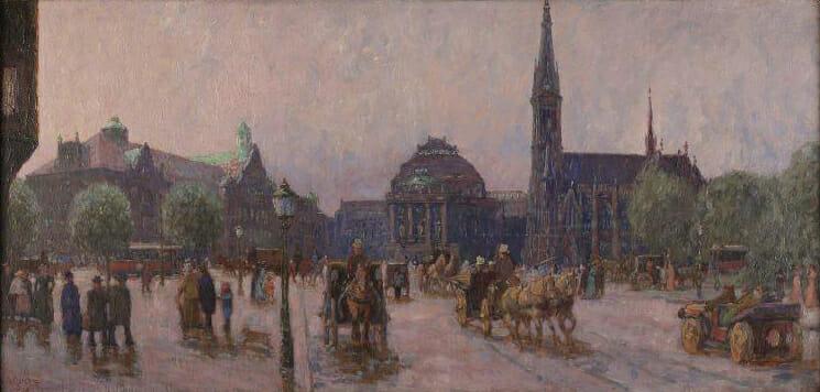 Alfred Kunze (1866–1943), Blick auf den Königsplatz, 1909, Öl auf Hartfaser, Kunstsammlungen Chemnitz/Schloßbergmuseum, Foto: Kunstsammlungen Chemnitz/Schloßbergmuseum/May Voigt