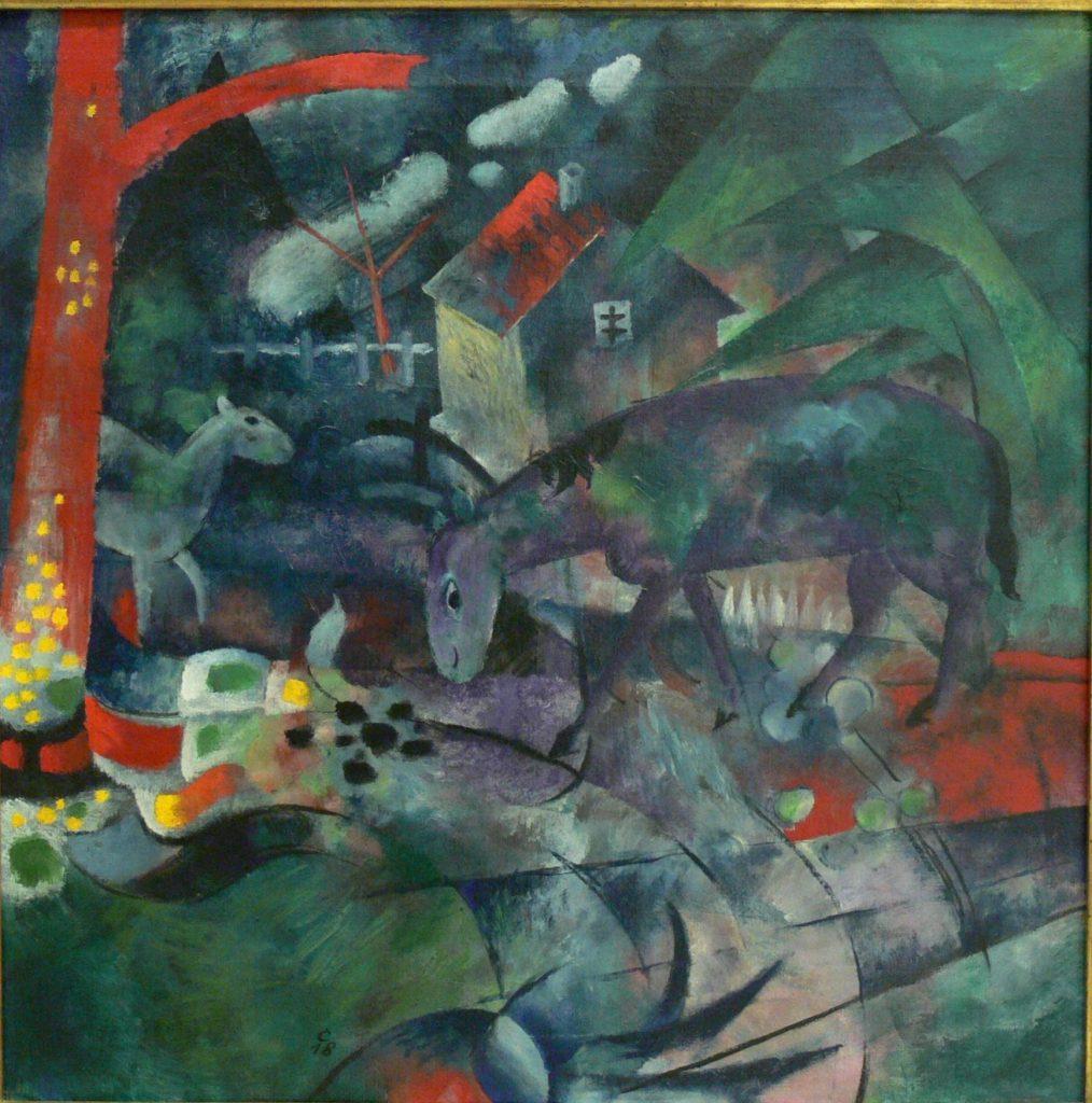 Heinrich Campendonk (1889–1957), Weidende Pferde, 1918, Öl auf Leinwand , Kunstsammlungen Chemnitz, Leihgabe Sammlung Claus Hüppe © VG Bild-Kunst, Bonn 2021