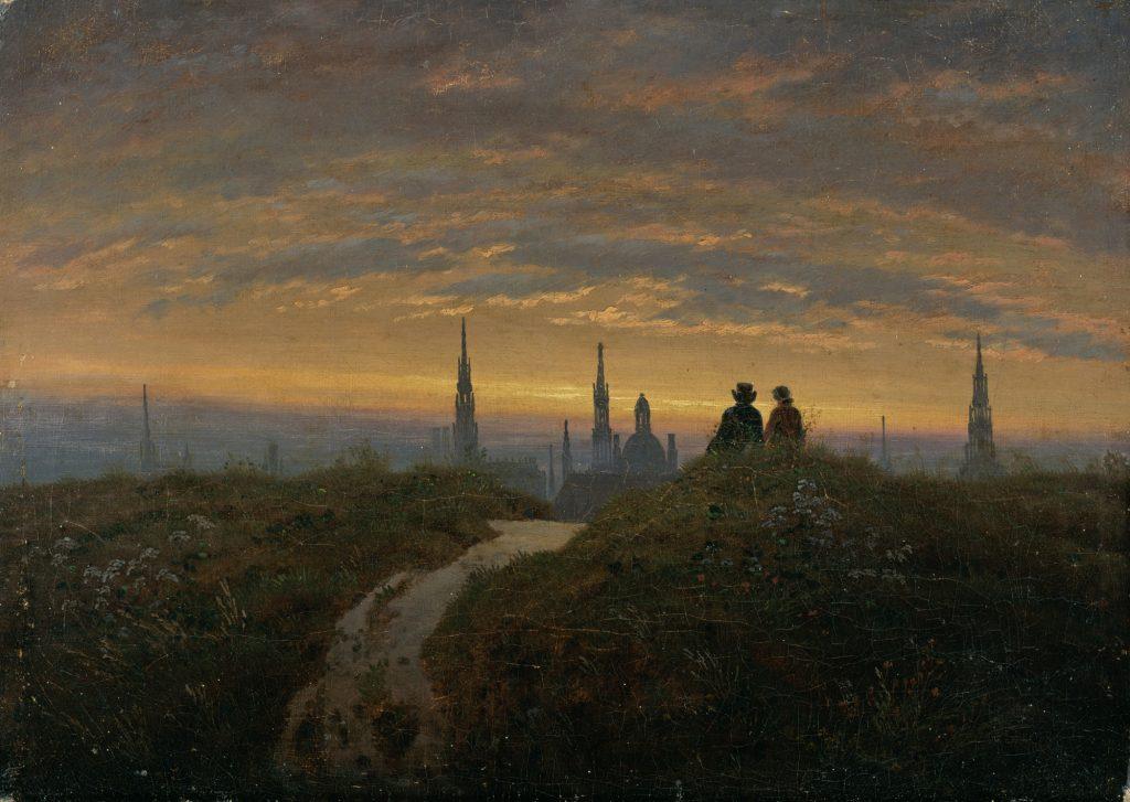Carl Gustav Carus (1789–1869), Blick auf Dresden bei Sonnenuntergang, um 1822, Öl auf Leinwand, Kunstsammlungen Chemnitz, Foto: bpk/Kunstsammlungen Chemnitz/PUNCTUM/Bertram Kober