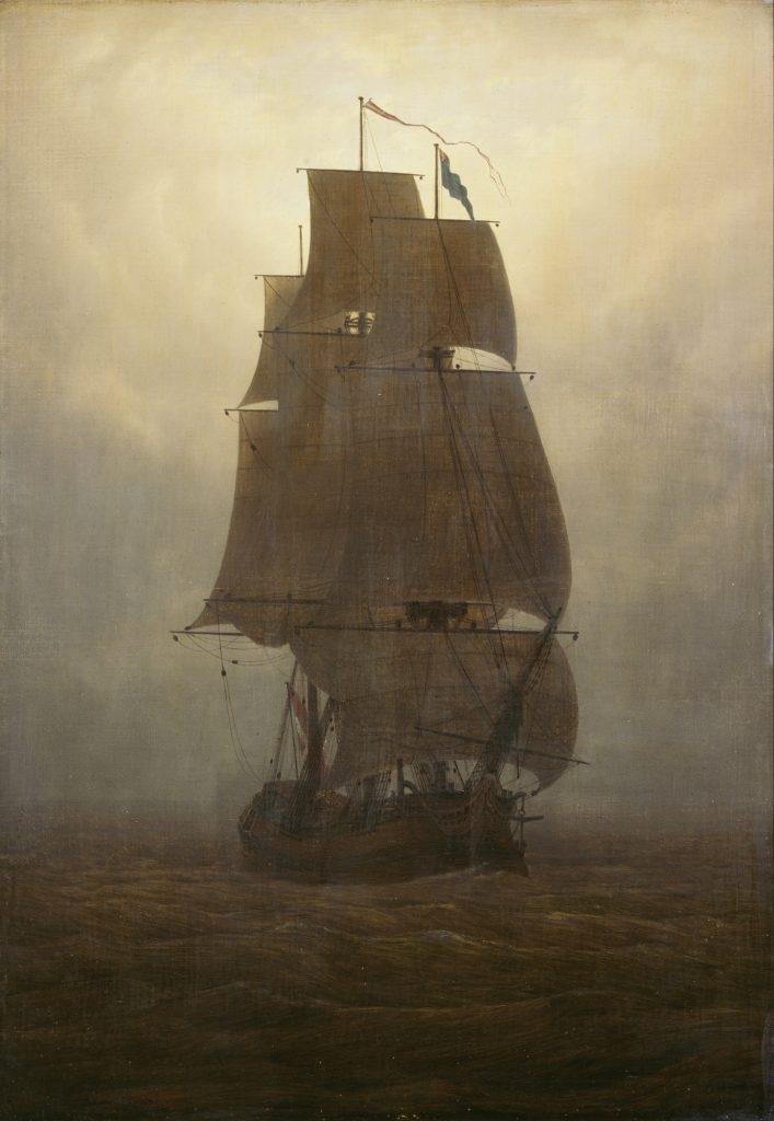 Caspar David Friedrich (1774–1840), Segelschiff, um 1815, Öl auf Leinwand auf Sperrholz, 72,3 x 51 cm, Kunstsammlungen Chemnitz, Foto: bpk/Kunstsammlungen Chemnitz/László Tóth