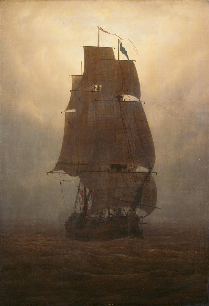 Caspar David Friedrich (1774–1840), Segelschiff, um 1815, Öl auf Leinwand, 72,3 x 51 cm, Kunstsammlungen Chemnitz, Foto: bpk/Kunstsammlungen Chemnitz/László Tóth