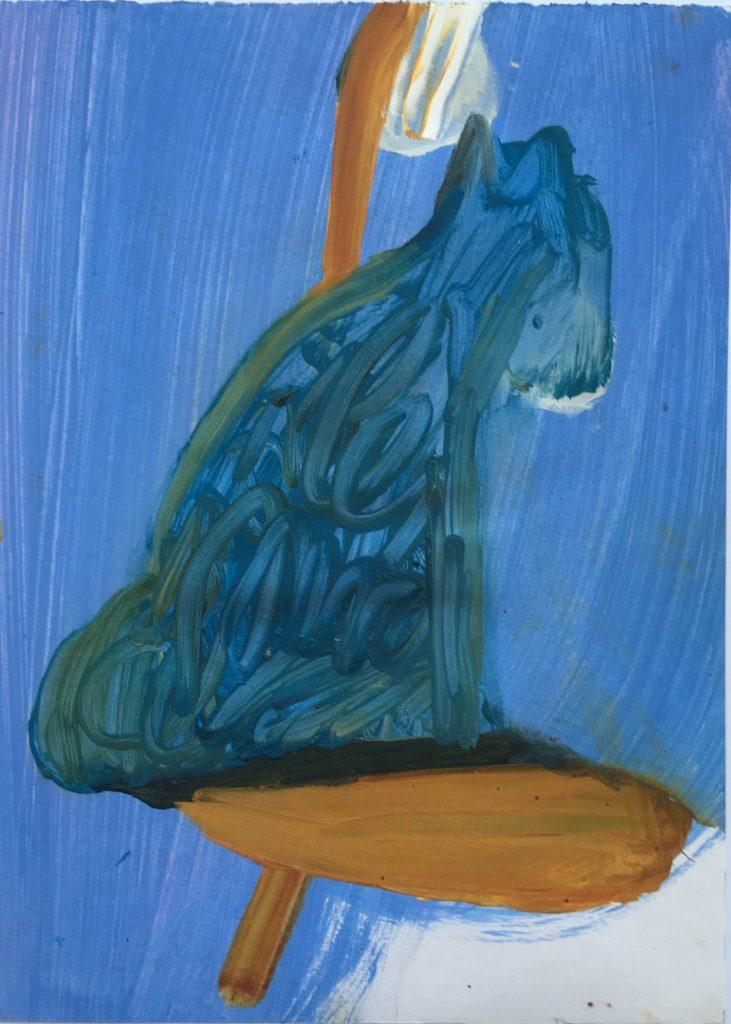 Christiane Bergelt, Hund,s, 2018, Öl auf Papier, 30,5 x 22 cm, im Besitz der Künstlerin, Foto: Torsten Stapel © VG Bild-Kunst, Bonn 2020