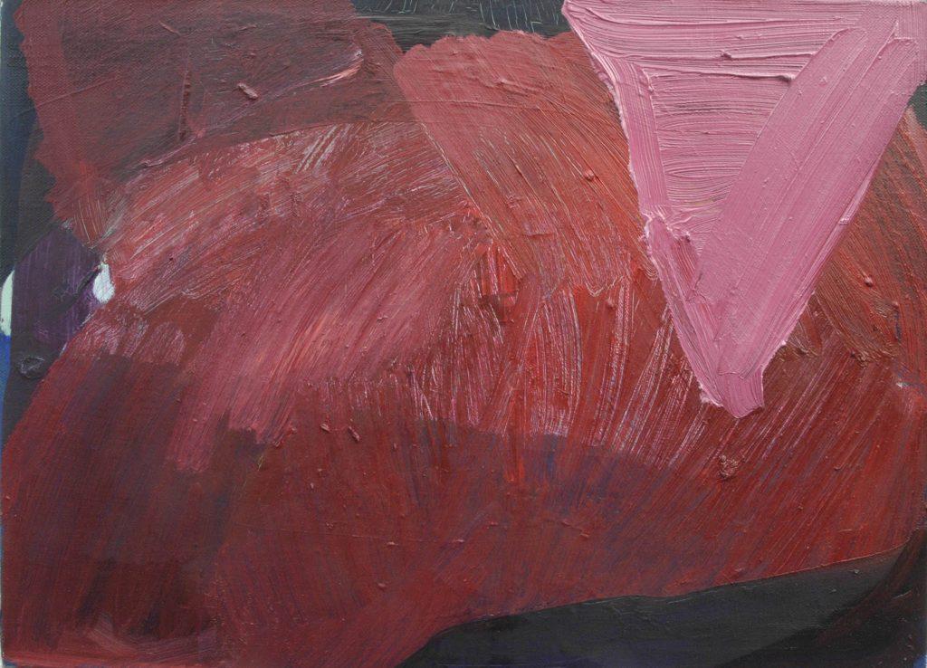 Christiane Bergelt, triangolo rosa, 2014, Öl auf Papier und Leinen, 40 x 45 cm, im Besitz der Künstlerin, Foto: Torsten Stapel © VG Bild-Kunst, Bonn 2020