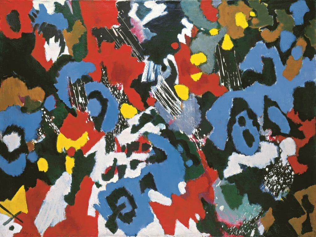 Ernst Wilhelm Nay (1902–1968), Rhythmen Blau Orange, 1953, Öl auf Leinwand, 105 x 140,5 cm, Kunstsammlungen Chemnitz – Museum Gunzenhauser, Eigentum der Stiftung Gunzenhauser, Chemnitz, Foto: Kunstsammlungen Chemnitz – Museum Gunzenhauser/Archiv © VG Bild-Kunst, Bonn 2020