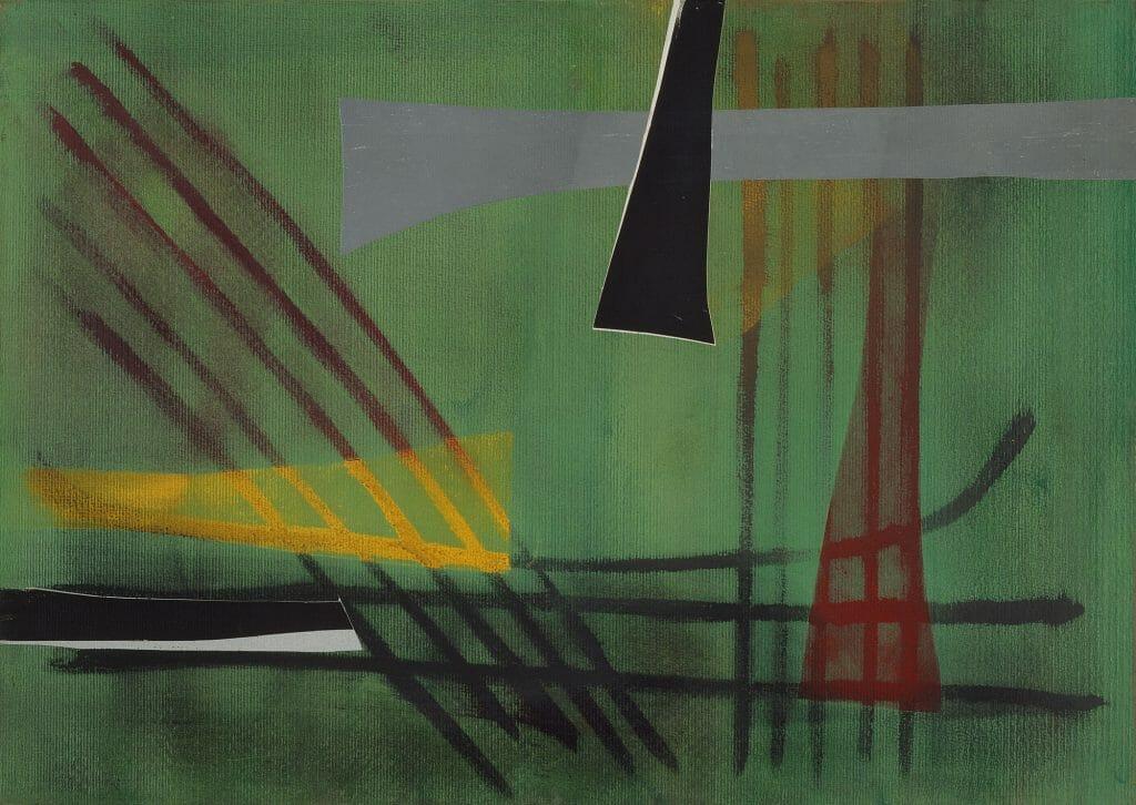 Fritz Winter (1905–1976), Auf grünem Grund, 1949, Öl auf Papier auf Leinwand, 50 x 70 cm, Kunstsammlungen Chemnitz, Dauerleihgabe, Sammlung Lühl, Foto: Kunstsammlungen Chemnitz/May Voigt © VG Bild-Kunst, Bonn 2020