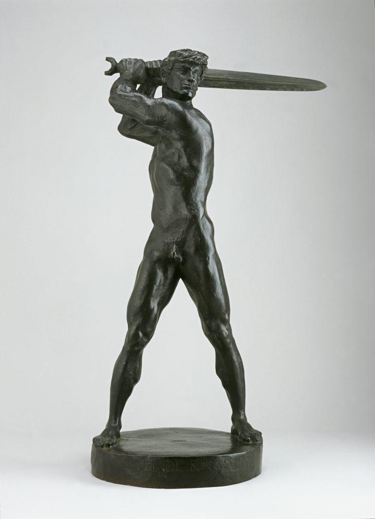Franz von Stuck, Feinde ringsum (Siegfried), 1916, Bronze, 66,7 x 42 x 24 cm, Kunstsammlungen Chemnitz-Museum Gunzenhauser, Eigentum der Stiftung Gunzenhauser, Chemnitz, Foto: Archiv