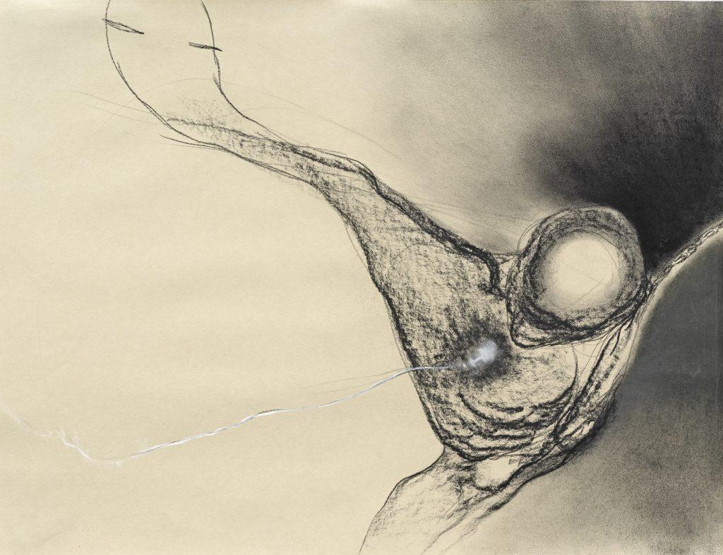 Gregor Torsten Kozik (*1948), Ohne Titel, 1985, Kohle, weiße Kreide auf hellgrünem Papier, 50,2 x 65,1 cm, Kunstsammlungen Chemnitz, Foto: Kunstsammlungen Chemnitz/László Tóth © VG Bild-Kunst, Bonn 2020