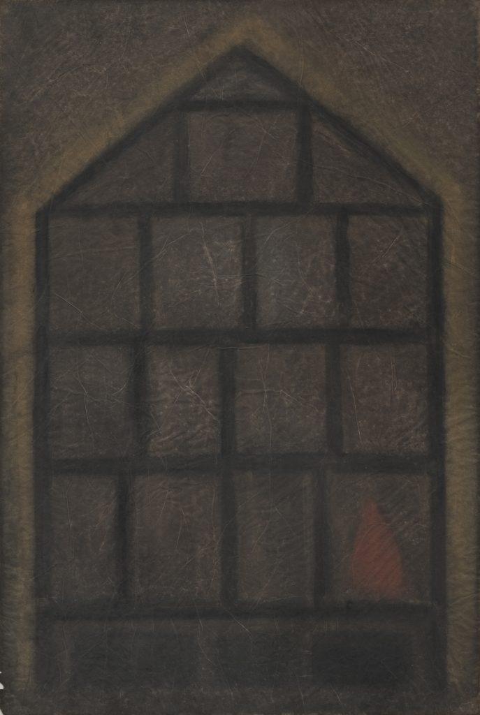 Irene Bösch (*1940), Brennendes Haus, 1983, Aquarell, 75,2 x 49,8 cm, Kunstsammlungen Chemnitz, Foto: Kunstsammlungen Chemnitz/László Tóth