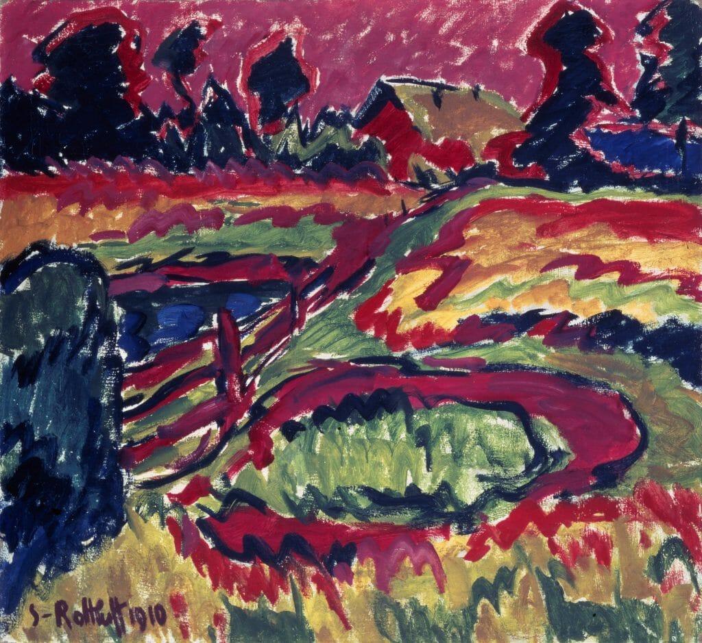 Karl Schmidt-Rottluff (1884–1976), Landschaft im Herbst, 1910, Öl auf Leinwand , 87,7 x 95,6 cm, Kunstsammlungen Chemnitz , Foto: bpk/Kunstsammlungen Chemnitz/May Voigt  © VG Bild-Kunst, Bonn 2020
