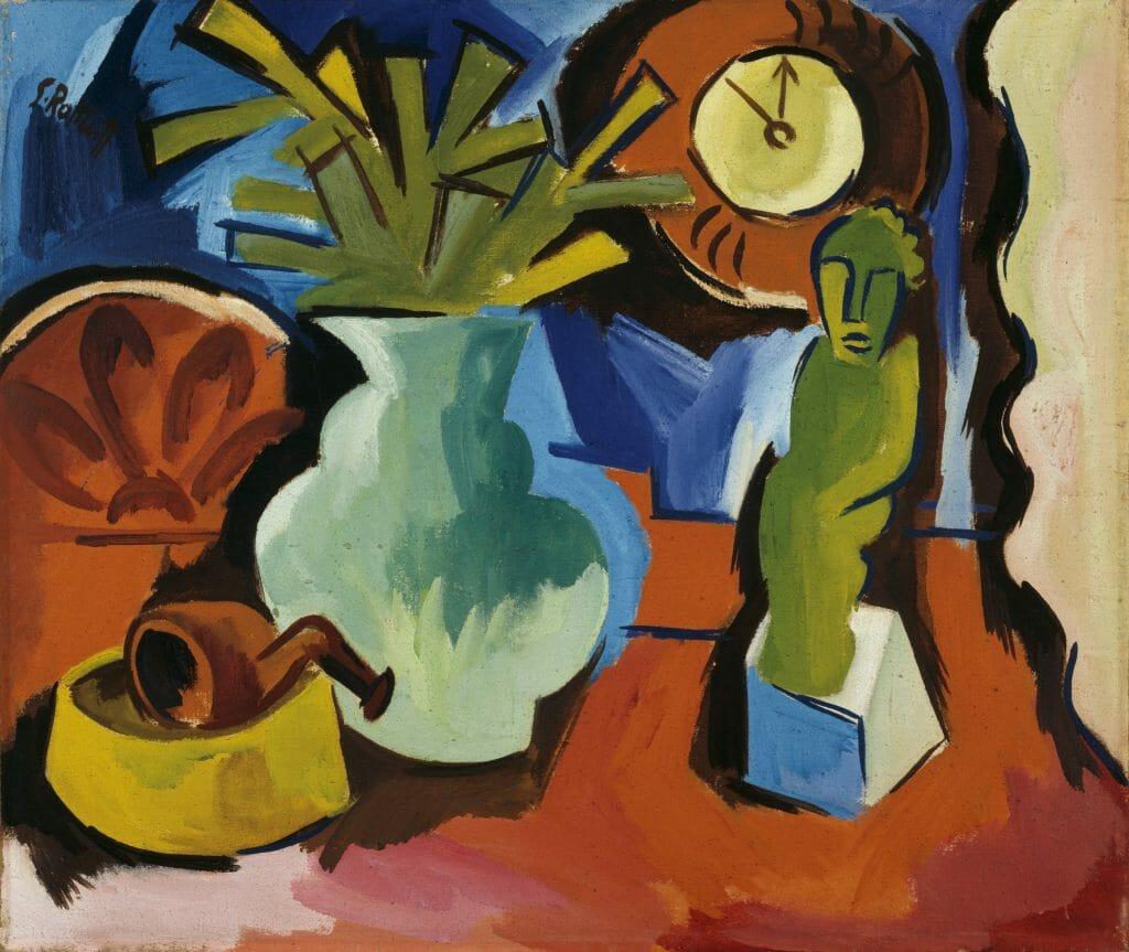 Karl Schmidt-Rottluff (1884–1976), Stillleben mit Figur, 1923, Öl auf Leinwand , 76,2 x 90,4 cm , Kunstsammlungen Chemnitz , Foto: bpk/Kunstsammlungen Chemnitz/May Voigt  © VG Bild-Kunst, Bonn 2020