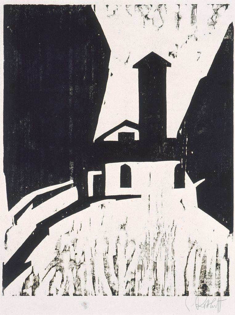 Karl Schmidt-Rottluff (1884–1976), Villa mit Turm, 1911, Holzschnitt, 49,9 x 39,3 cm, Kunstsammlungen Chemnitz, Foto: Kunstsammlungen Chemnitz/PUNCTUM/Bertram Kober © VG Bild-Kunst, Bonn 2020