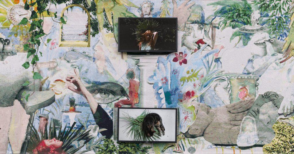 Laure Prouvost, Swallow me, From Flanders to Italy (Ausschnitt), 2019, Teppich und zwei integrierte TV-Screens, Filmdatei, 200 x 460 cm © Courtesy: the artist