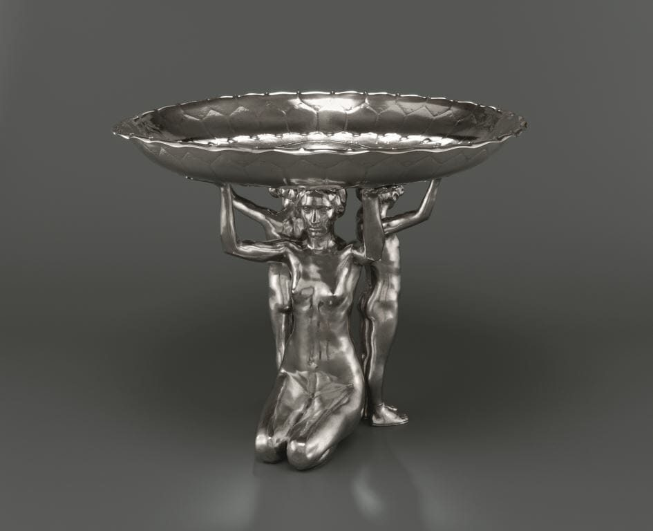 Mathieu Molitor (1873–1929), Tafelaufsatz, um 1910, Silber, Kunstsammlungen Chemnitz/Schloßbergmuseum, Foto: Kunstsammlungen Chemnitz/Schloßbergmuseum/May Voigt