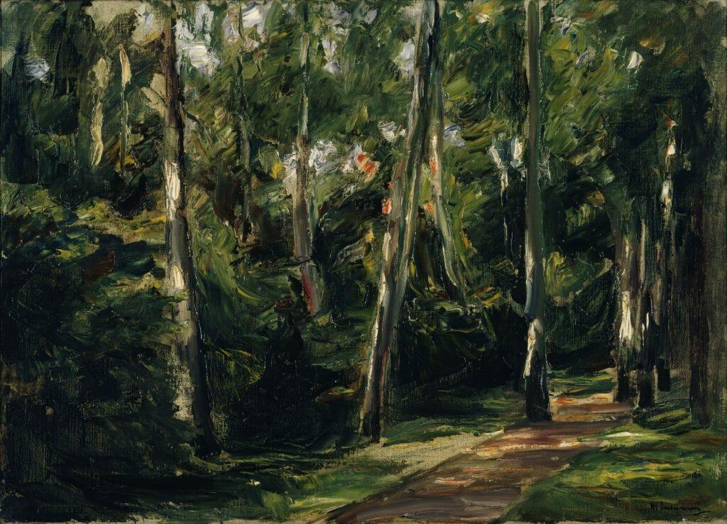 Max Liebermann (1847–1935), Die Birkenallee im Wannseegarten nach Südwesten, 1924, Öl auf Leinwand , 50,6 x 70,2 cm , Kunstsammlungen Chemnitz , Foto: bpk/Kunstsammlungen Chemnitz/May Voigt