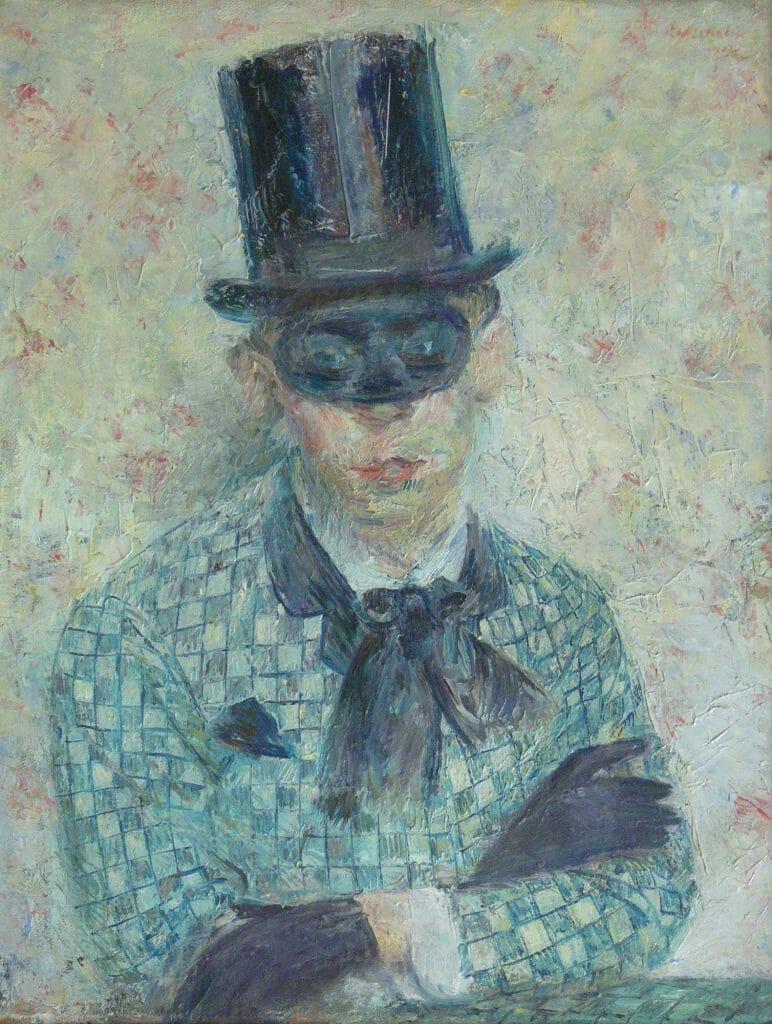 Paul Wilhelm (1886–1965), Selbstbildnis mit Maske, 1910, Öl auf Leinwand, 56,8 x 44,4 cm, Kunstsammlungen Chemnitz