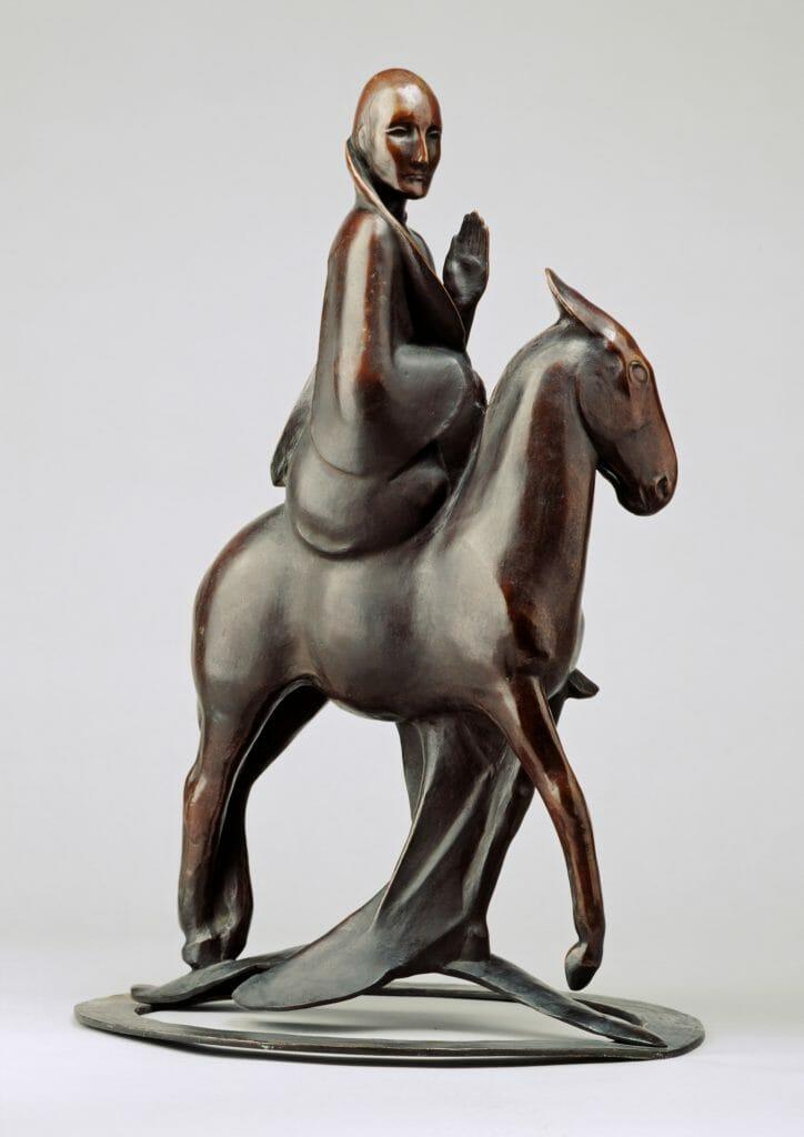 Richard Scheibe (1879–1964), Auf einem Esel reitender Christus , 1921, Bronze, 53,3 x 36,5 x 32,5 cm, Kunstsammlungen Chemnitz, Foto: Kunstsammlungen Chemnitz/PUNCTUM/Bertram Kober