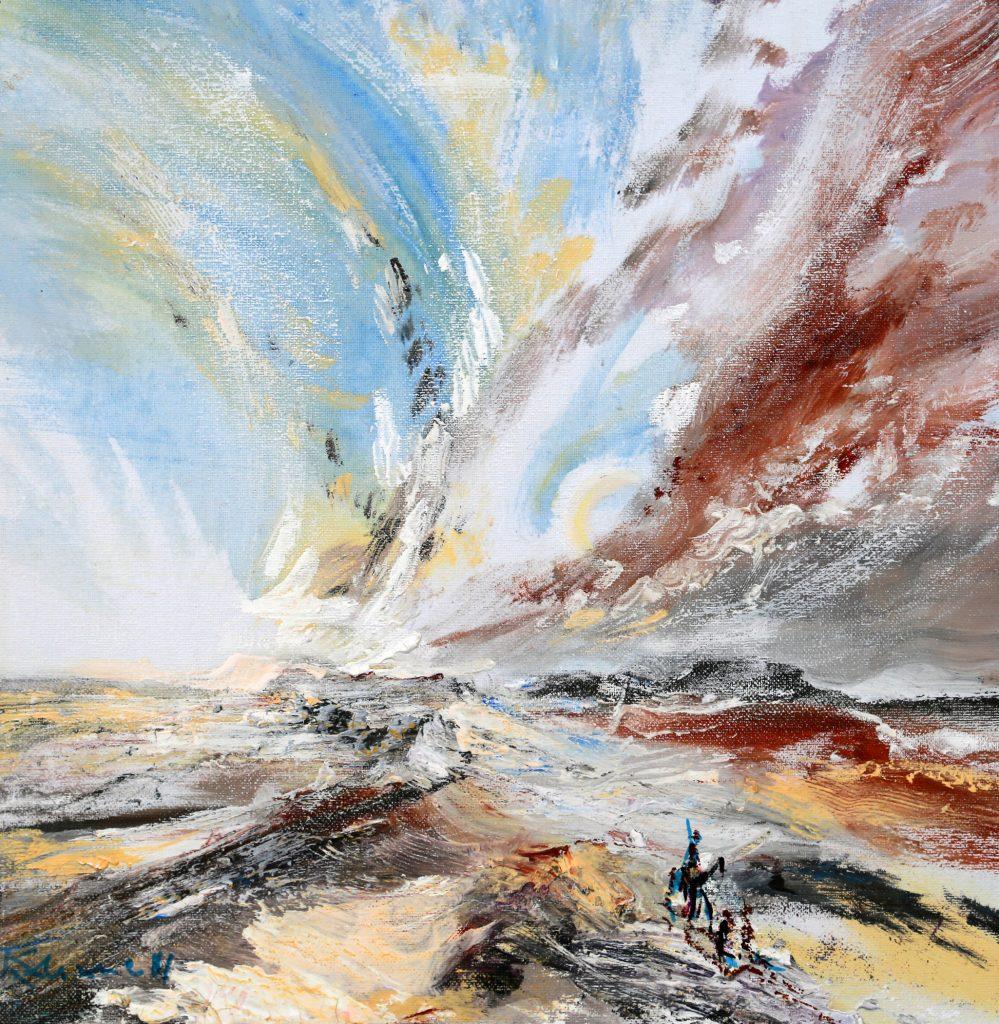Sabine Kahane-Noll, Aufziehender Sandsturm, 2015, Acryl auf Leinwand, 37 x 38 cm, im Besitz der Künstlerin, Foto: Ilja Kogan, Chemnitz/Freiberg © VG Bild-Kunst, Bonn 2020