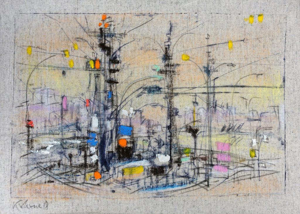 Sabine Kahane-Noll, Stadtrand verkabelt, 2018, Kaltnadel coloriert auf Leinwand, 41 x 26 cm, im Besitz der Künstlerin, Foto: Ilja Kogan, Chemnitz/Freiberg © VG Bild-Kunst, Bonn 2020