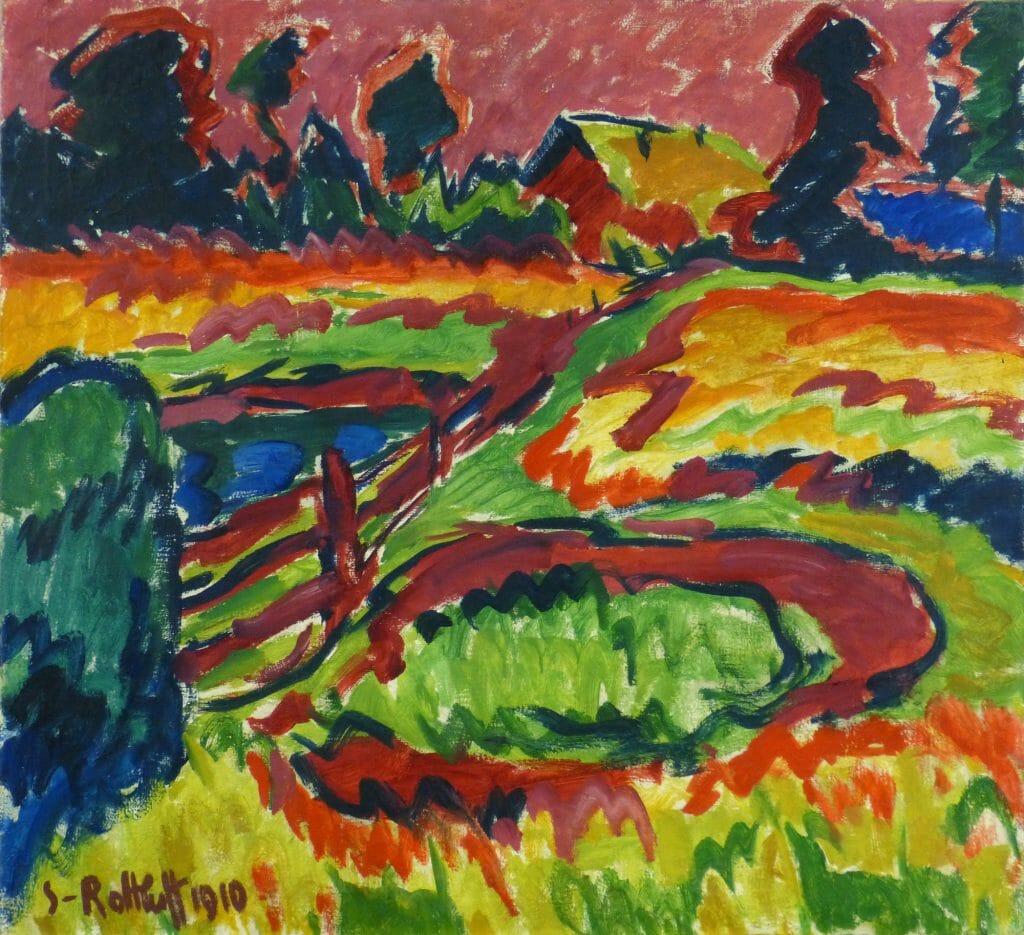 Karl Schmidt-Rottluff (1884–1976), Landschaft im Herbst, 1910, Öl auf Leinwand, 87,7 x 95,6 cm, Kunstsammlungen Chemnitz, Foto: Kunstsammlungen Chemnitz/PUNCTUM, Bertram Kober © VG Bild-Kunst, Bonn 2020