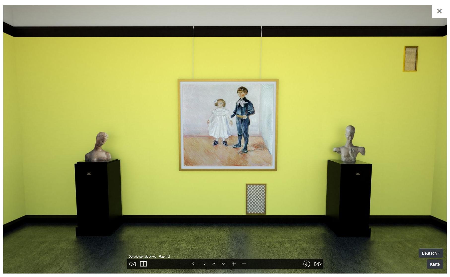 Screenshot virtuelle Rekonstruktion Galerie der Moderne mit Werken von Wilhelm Lehmbruck und Edvard Munch