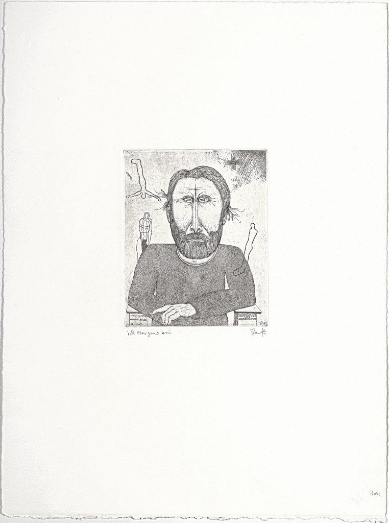Thomas Ranft (*1945), Ich Morgner bin, 1983, Radierung, 53,0 x 39,5 cm, Kunstsammlungen Chemnitz, Foto: Kunstsammlungen Chemnitz/László Tóth © VG Bild-Kunst, Bonn 2020