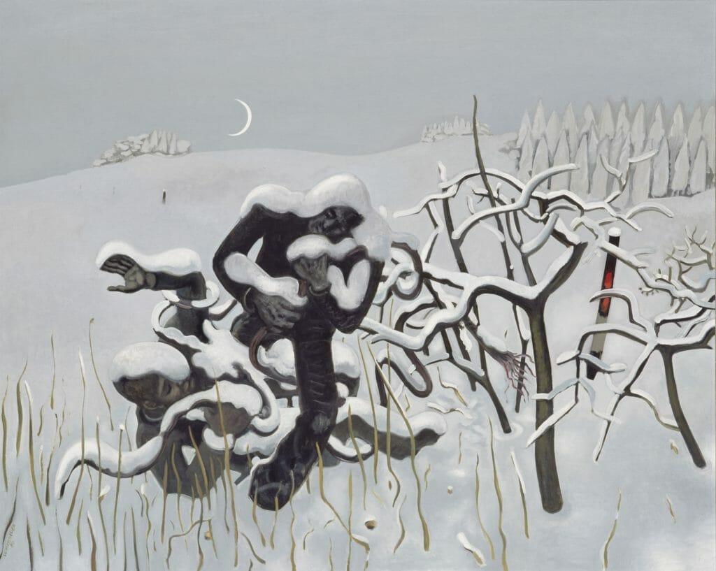 Wolfgang Mattheuer (1927–2004), Eingeschneite Aktion, 1980, Öl auf Hartfaser, 100 x 125 cm , Kunstsammlungen Chemnitz , Foto: bpk/Kunstsammlungen Chemnitz/PUNCTUM/Bertram Kober  © VG Bild-Kunst, Bonn 2020